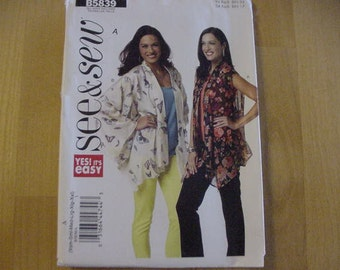 UNCUT 2012 Butterick See & Sew Pattern B5839,  Misses' Loose Fitting Unlined Jacket, Sleeve Variation, Multi Size XSM-XXL