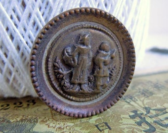 Antique Metal Singing Beggars Picture Sewing Button