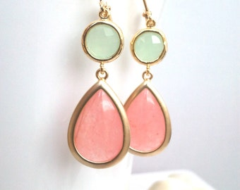 Coral Pink Gold earrings, Blush Pink Wedding Earrings, Drop, Dangle earrings, bridesmaid gifts, Gemstone,Wedding jewelry