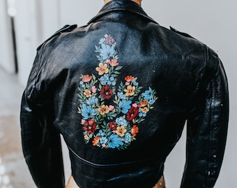 Hand-Painted Flower Middle Finger on Vintage Motorcycle Jacket // SMALL