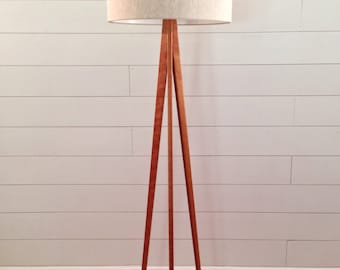 Floor Lamp - Tripod - Cherry Wood