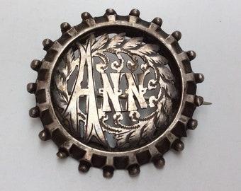 Antique Victorian Silver Name Brooch - ANN - Antique Pin