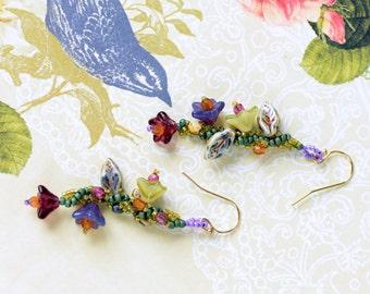 Glass Flower Earrings, Seed Bead Earrings, Floral Earrings, Purple Earrings, Pink Earrings, Green Earrings, Beaded Earrings, Dangle Earrings