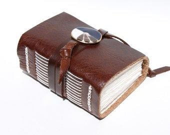 Cocoa Brown Leather Journal or Notebook with Handmade Porcelain Adornment