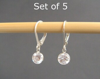 bridal earrings. Set of 5. sterling silver cubic zirconia leverback. lever back. small dangle drop. crystal. bridesmaid jewelry 6 mm CZ