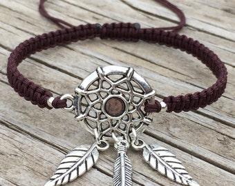 Dream Catcher Bracelet, Dream Catcher Anklet, Adjustable Cord Macrame Friendship Bracelet, Dream Catcher Jewelry, Gift for Her, Boho Jewelry