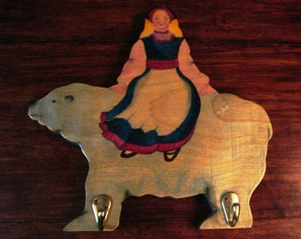 Coathook Plaque Hand Painted Folklore Lady and Bear