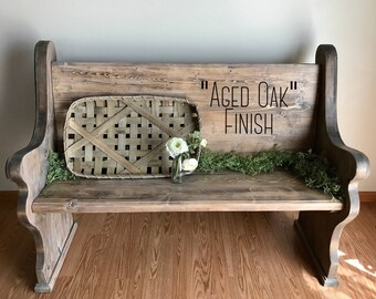 "SHIPPING INCLUDED!  Wooden Church Pew: Traditional Style; ""Aged Oak"" finish.  Perfect for an entryway, foyer, or alternate dining seating"