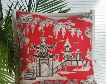 Only One Left! Waverly Peaceful Temple Asian Oriental Chinoiserie Toile Red Pillow Cover