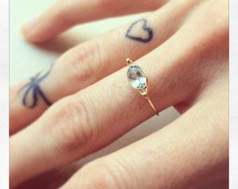 Blue Topaz & Gold Ring