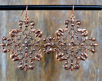 Boho Filigree Cross Earrings in Copper