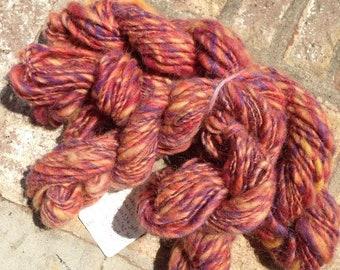 Morning Sunrise OOAK handspun single yarn 3 pack total 146 yards 4 oz.
