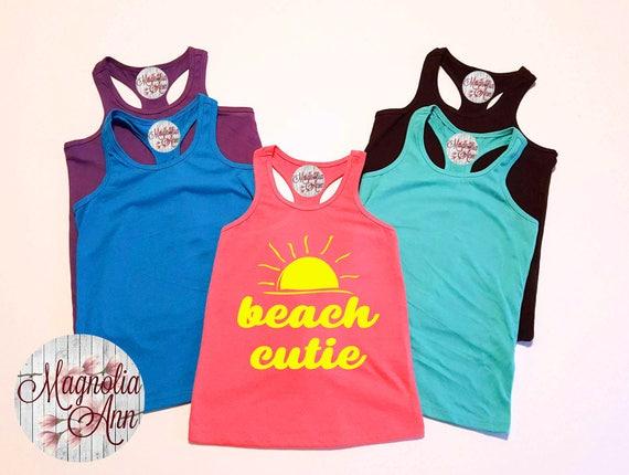 Beach Cutie, Baby, Toddler, Little Girls Racerback Tank Top, Baby Tank Top, Baby Beach Tank Top, Toddler Tank Top, Summer Tank Top, Baby Top