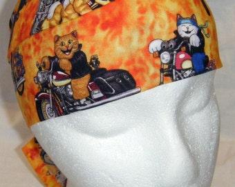 Orange Skull Cap with Cats on Motorcycles, Hats, Chemo Cap, Biker, Head Wrap, Alopecia, Do Rag, Hair Loss, Bald, Surgical Cap, Handmade