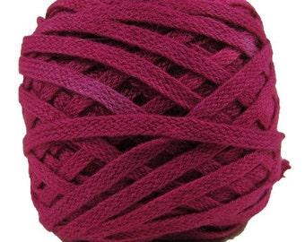 Flat Braid, 100% Organic Cotton, 25 Yards, Hand-Dyed, Raspberry