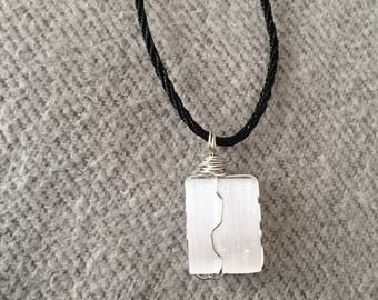 Wire Wrapped Selenite Crystal Necklace
