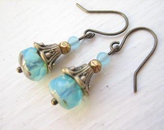 Blue opal glass earrings, Czech glass earrings, opal blue earrings, antique bronze drop, milky blue glass, Czech bead drops, facetted glass