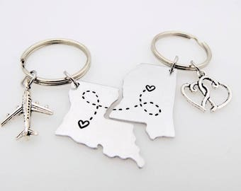 State Keychain USA custom Best Friends Long Distance Relationship LDR matching set going away gift long distance family living apart college