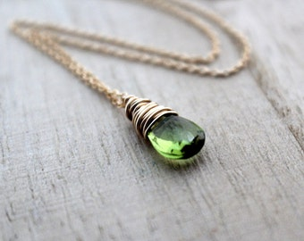 Peridot Necklace In 14K Gold Filled, Wire Wrapped August Birthstone, Apple Green Fall Fashion