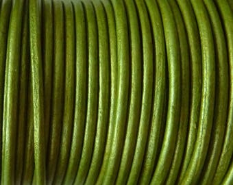 1 m leather cord 2 mm green metallic PR08.5