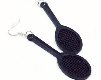 Black Tennis Racket  Earrings