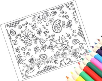 Instant Download Coloring Page Zentangle Inspired Printable, Zendoodle Paisley Pattern, Page 50