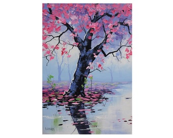 tree prints , painting prints, tree picture , pink wall art, downloadable prints from my Original Oil Painting