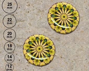 2 round cabochon 20 mm resin yellow kaleidoscope print is available in 25, 22, 18, 14, 12 mm
