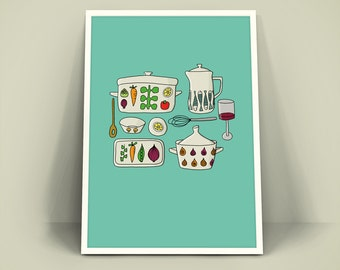 Retro Vintage Poster A4 Art Print-tableware with vegetable decor-