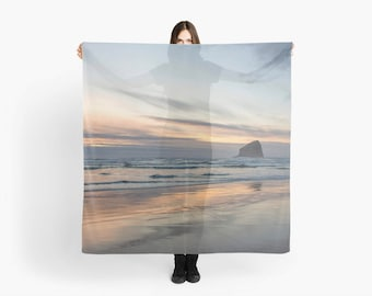 Beach Print Scarf ~ Large Square Scarf ~ Beach Scarf ~ Blue Scarf ~ Beach Sarong ~ Gift for Her, Women Fashion Accessory, Ocean Sunset Photo