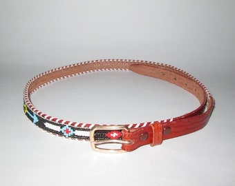 Vintage Indian Beaded Tooled Leather Belt - Size 38