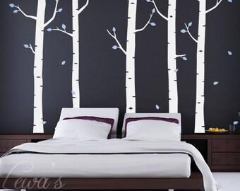 Birch Tree Woodland Forest Vinyl Wall Decal Set - 7' Height Option. Forest Wall Decal, Woodland Nursery, Woodland Play Room, Dorm Decor