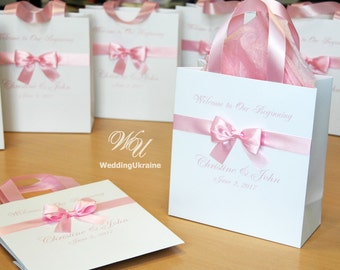 30 Welcome Bags for wedding guests with satin ribbon, bow and names - Elegant Personalized Paper Bags Welcome to Our Begining gift bags