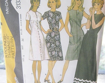 McCall's Easy Knits Pattern #3133, A Pounds-Thinner Pattern, Dress Size 14, Two Lengths, Sleeveless Or Short Sleeved, Vintage Pattern