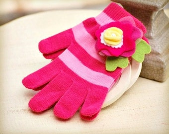Fun Flower Gloves Lime Green Leaves Yellow White Pearl. Warm Hands Knitted Stripes, Princess Birthday Bright Colorful, Toddler Preteen Girly