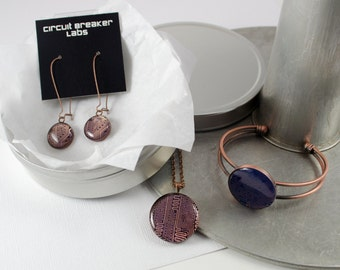 Circuit Board Gift Set, Copper Computer Necklace, Copper Bangle Bracelet, Copper Dangle Earrings, Geeky Engineer Gift, Wearable Technology