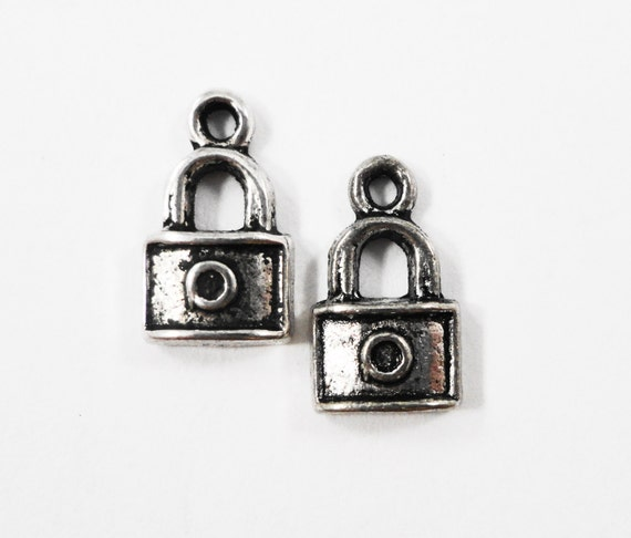 Silver Padlock Charms 13x7mm Antique Silver Lock Charms, Small Padlock Pendants, Locker Charms, Metal Charms for Jewelry Craft Supplies 10pc