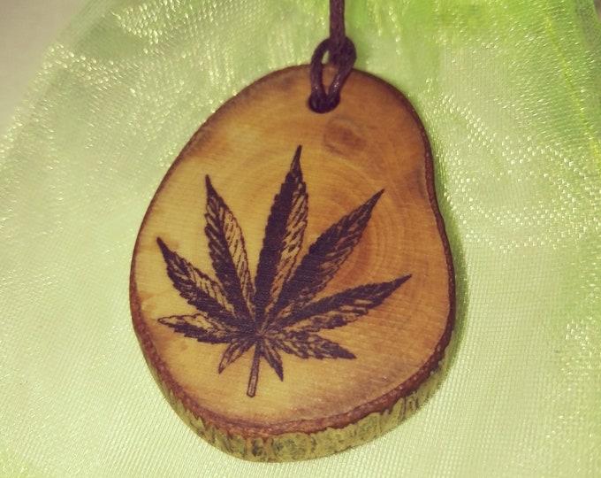 Cannabis Leaf Hemp Marijuana Necklace Wooden Charm Brown  Eco Friendly Handmade Personalised Charms Wood Hand made Jewellery #Etsy
