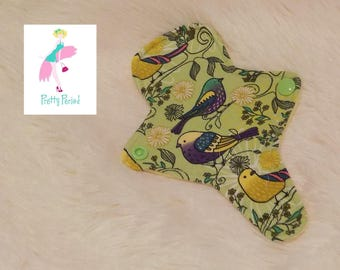 "7"" Thong Liner Birds Jersey CSP Cloth pad (2"" snapped) thin discrete fleece back daily liner"