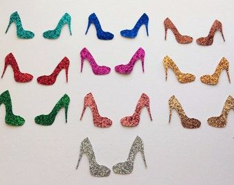 10 Pair Glitter Ladies High Heel Pump Shoes Die Cut Stickers CHOOSE from 10 Sparkling Colors Embellishment Scrapbook Greeting Card Art Craft
