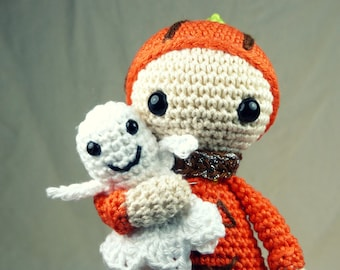 Crochet pattern : Pumpkin and his ghost snuggle