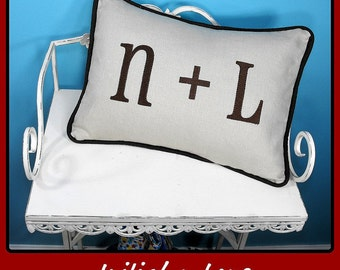 Initial Love - Embroidered Pillow Cover  - 12 x 16 lumbar