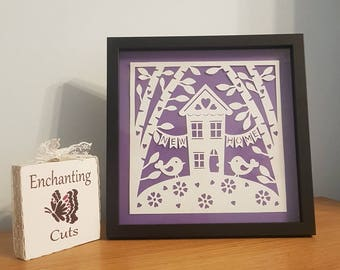 New Home Papercut, House, Home, gift, moving house, wall art, framed, paperart, new house, housewarming, present, handmade christmas