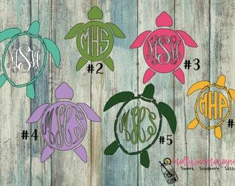 Turtle monogram vinyl decal