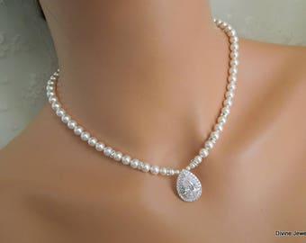 bridal necklace Pearl Necklace Ivory Swarovski Pearl crystal necklace Bridal Statement Necklace wedding Pearl Necklace cubic zirconia ASHA