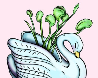 Venus Fly Trap Swan Planter - A4 Art Print by Hungry Designs