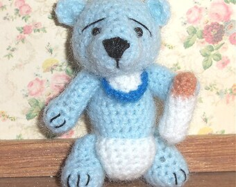 Blue Baby Bear Miniature Thread Artist Crochet  Ready to Ship