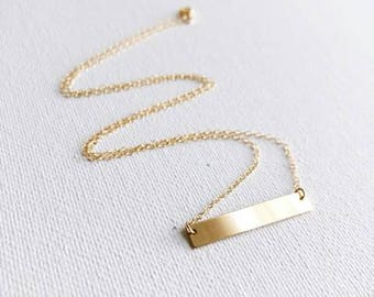 14k Gold Filled Bar Dainty Necklace