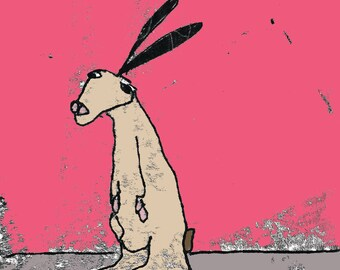 Rabbit print, rabbit lover gift, cute bunny, cartoon rabbit, rabbit drawing, rabbit with big ears, nursery art, animal art, pet rabbit