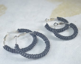 Black Leather Wrapped Earring Hoops - Silver Plated Hoops - Black Leather